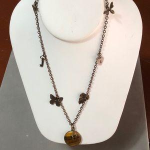 Tiger eye Vintage brass necklace